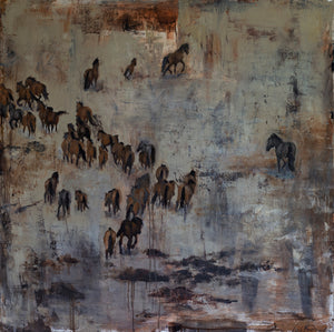 Energetic wild horse herd from the the Steens Mountain Wilderness. The mustangs depicted in this oil original shows their beauty and their strength. Together they are one, guided by instinct and truth. A showpiece for any wall in your home or office.