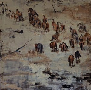 The second of the almost monochrome depiction of the energetic wild horse herd from the Steens Mountain Wilderness paintings. The mustangs together are one, guided by instinct and truth. A showpiece for any wall in your home or office.