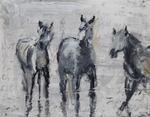 Three gentle horses in the marsh of the Camargue region of France. Highly textured surface, calming and sweet subjects.