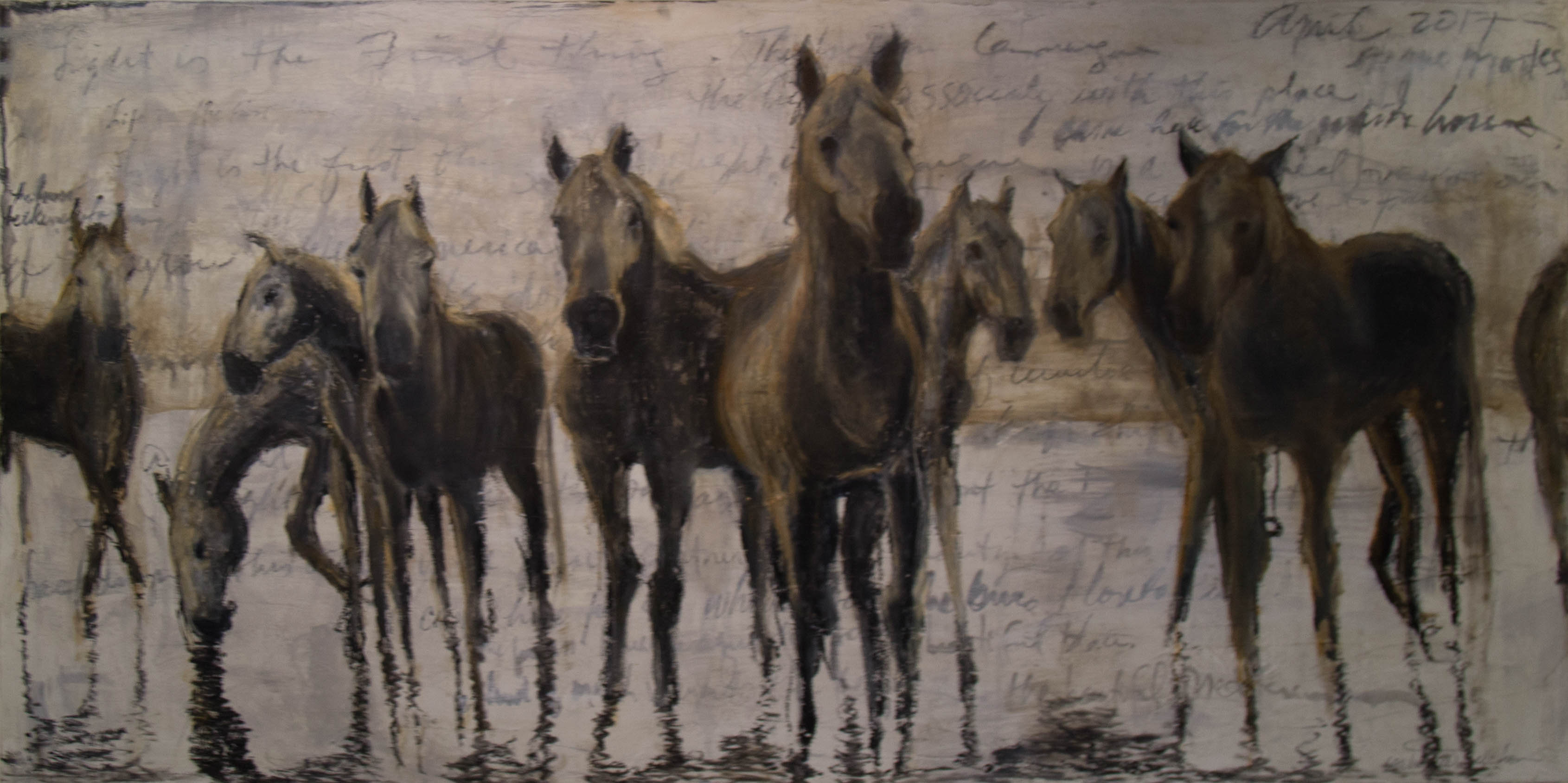 A soothing original oil painting of a herd of wild horses in the marsh of the Camargue region.