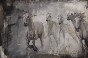 Abstracted herd of wild horses galloping. Exceptional movement and energy in the elements of this painting balanced with its subtle chromatic palette make this piece a great conversation piece.