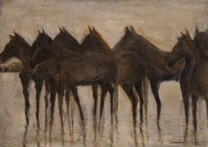 A soothing original oil painting of a mellow herd of wild horses in the marsh of the Camargue region at sunset.