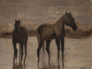 A soothing original oil painting of two mellow wild horses in the marsh of the Camargue region at sunset.