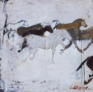 A sister to Beating Hooves, Wild Hearts is another precious bijou of a painting with its small scale with ample energy and grit. This mixed media painting of a wild horse herd galloping is inspired by the wild Kiger herd in the Steens Mountain Wilderness in east Oregon, an original from the ROAM Collection.