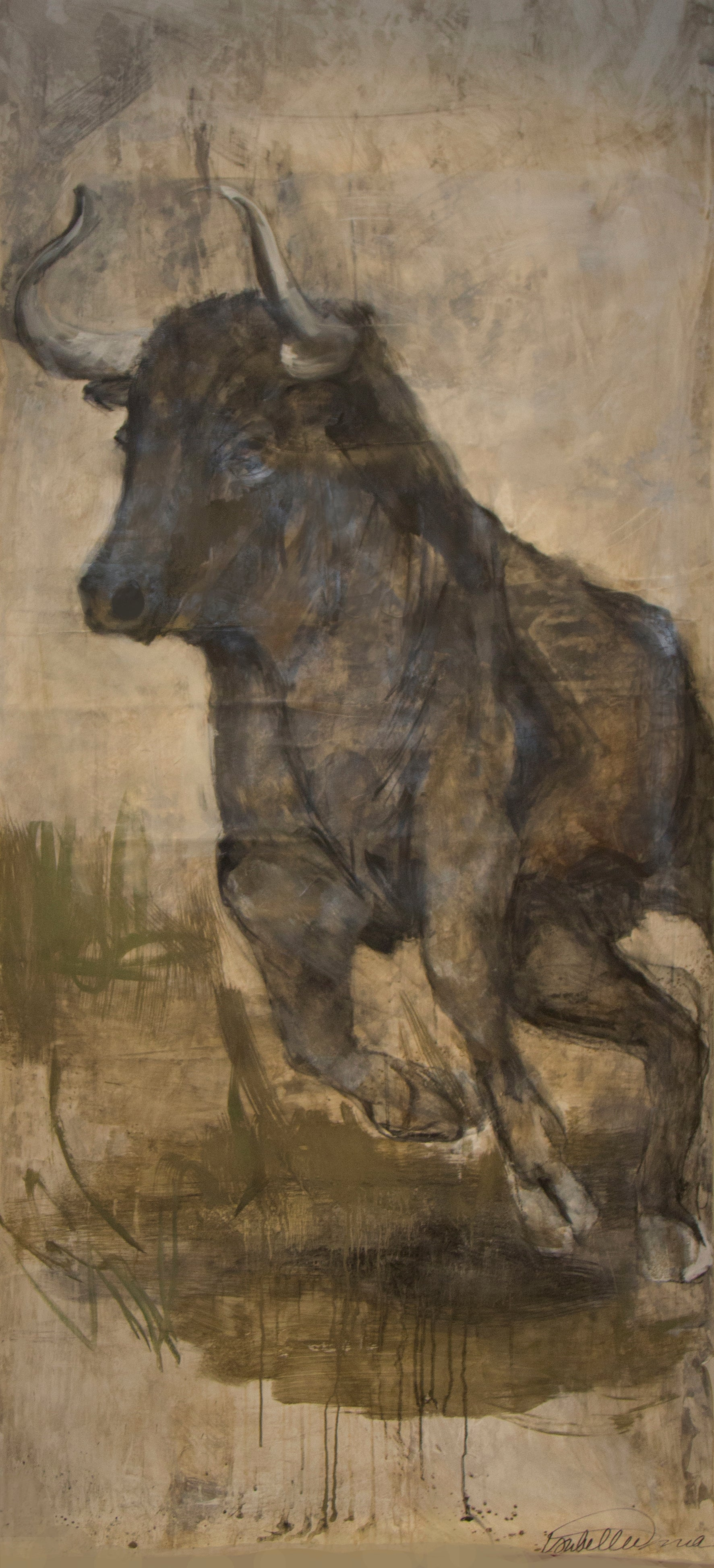 Samson the bull's partner Delilah, in muted natural tones, sweet and full of life. A fantastic piece for a lofty wall and space, perhaps with her pal Samson!