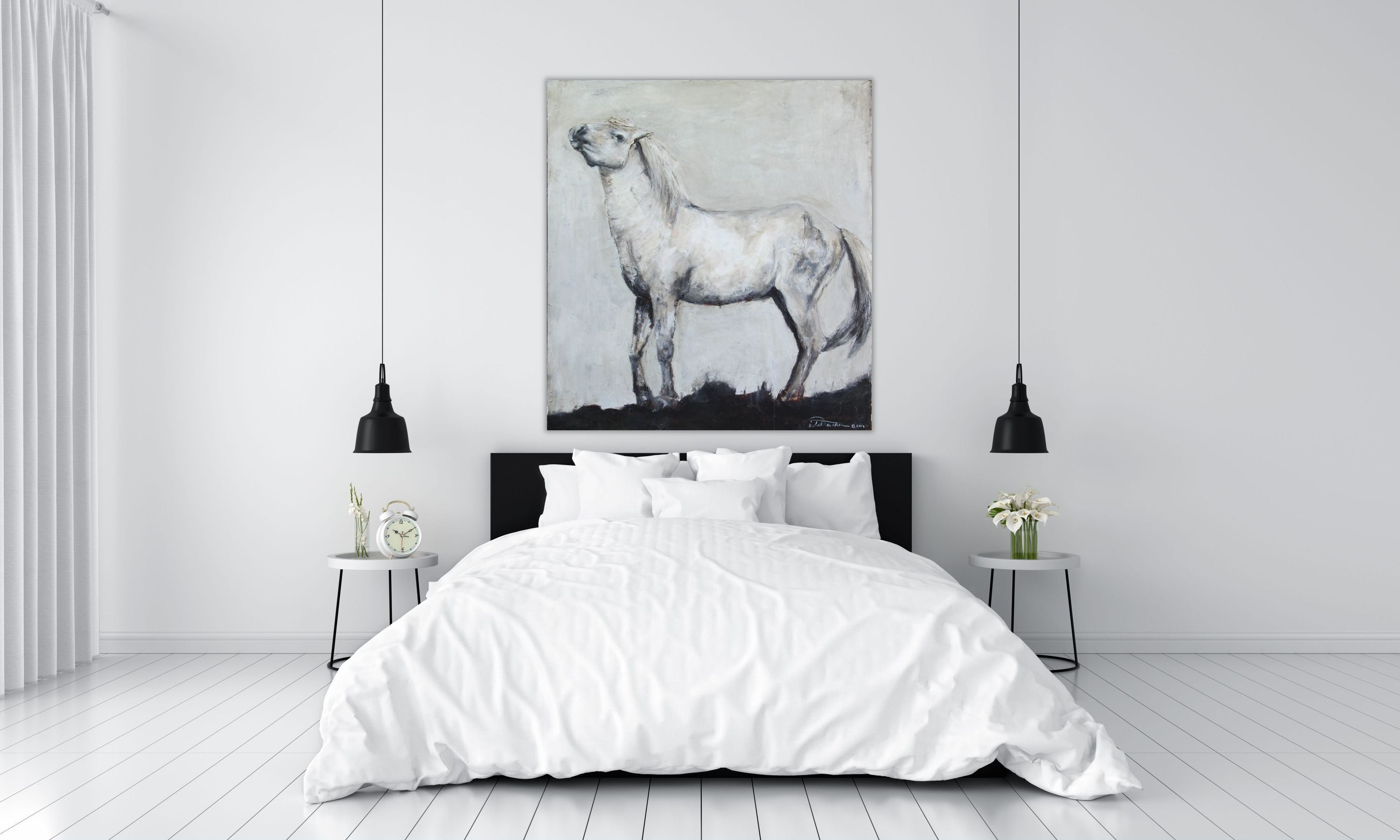 Stunning and highly textured piece depicting a posturing stallion Camarguais horse. Neutral tones of gray and white with a touch of dirtied burnt umber and rich alsphaltum hues.