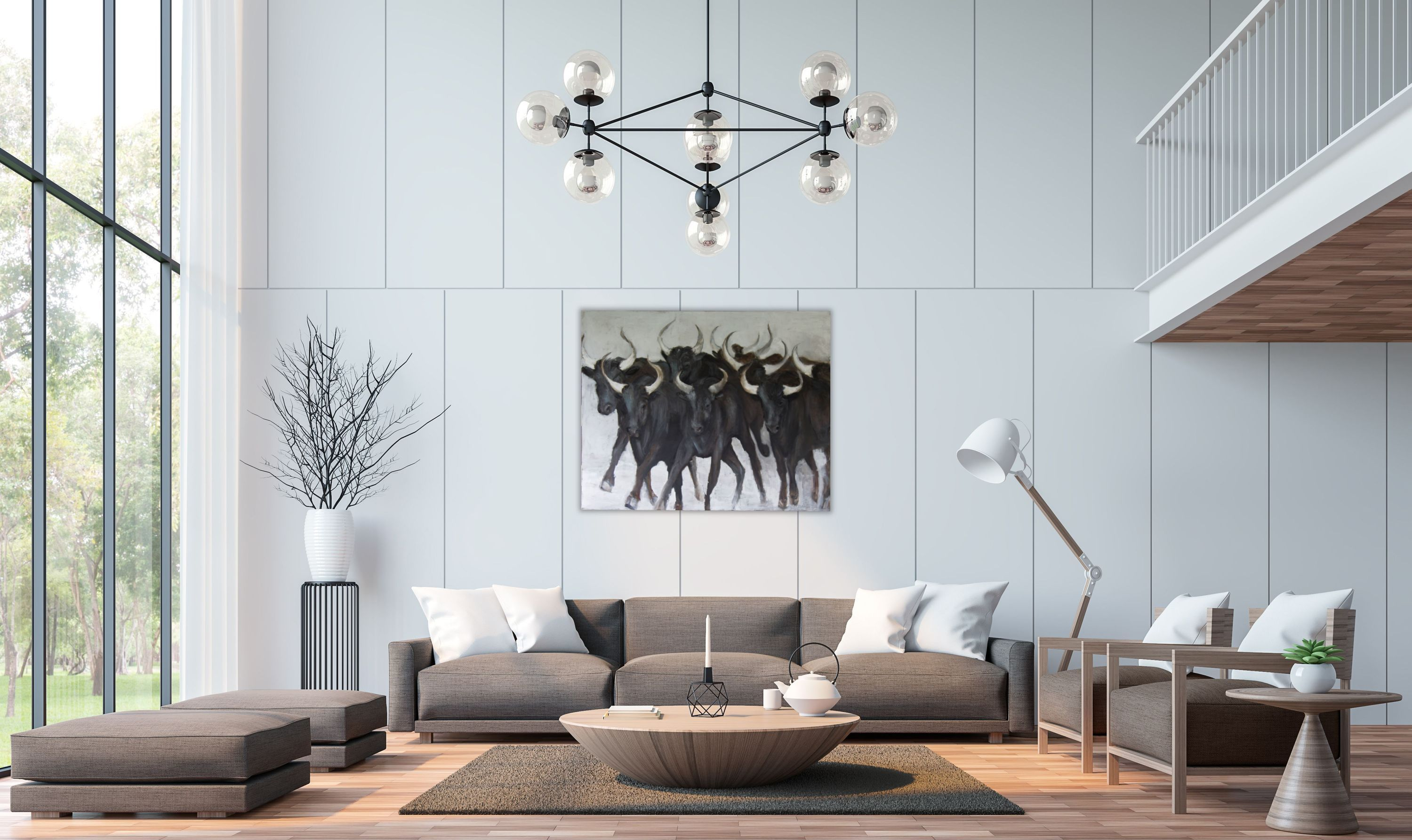 Energetic herd of bulls from the Camargue region of France. A showpiece for any wall in your home or office.