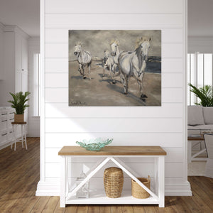Galloping on the Camargue Seashore, retouched original canvas print