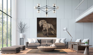 Inspired by the beautiful horse of the Camargue, this original oil painting showcases the might of the Camargais breed, one of the oldest breeds on the planet today. Resilient, stoic, and gentle.