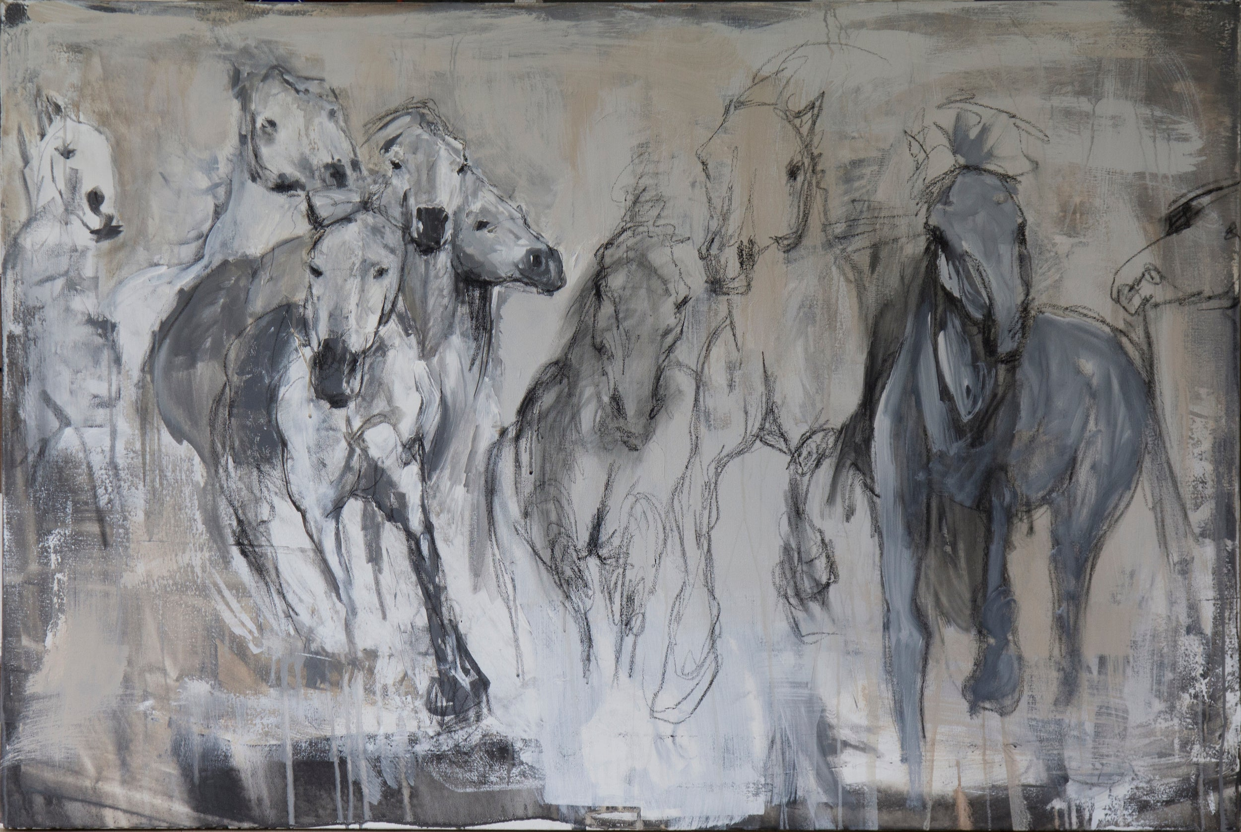 Abstraction of a wild horse herd of the Camargue, exudes energy and impact.