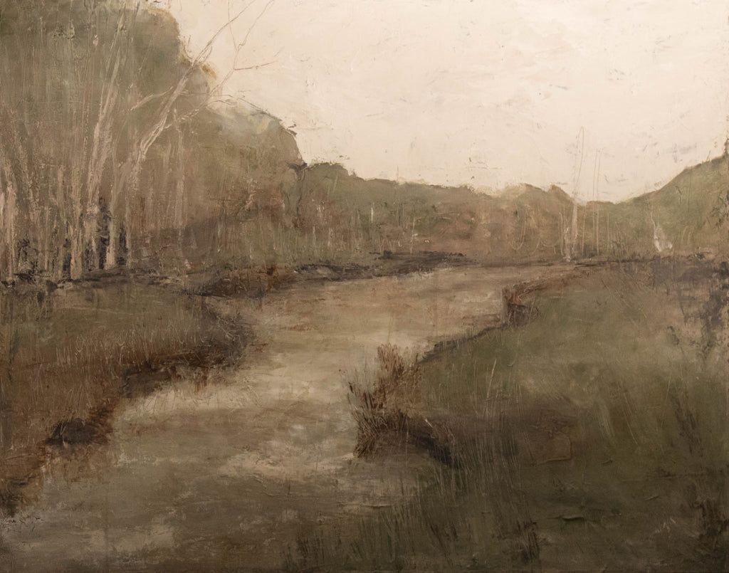 Soft and muted West Virginia river landscape. This piece was actually inspired by the pond on the artist's property. Isabelle created an opening in the foreground to let the river run through it! Inspired by Andrew Wyeth