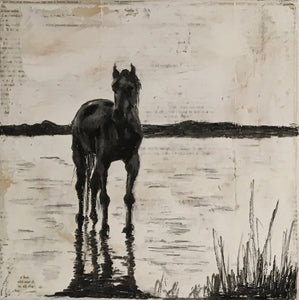 Original painting depicting a soulful wild horse in its natural habitat of the Camargue, France.