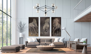 Third in a series of three, Leap is highly textured and displays the joyful spirit of the Camarguais horse frolicking in his natural environment of the Camargue.