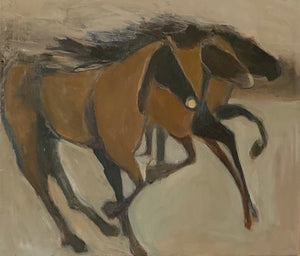 Trio of abstract horses galloping free, textured and filled with energy and movement. A thrilling piece for any environment.