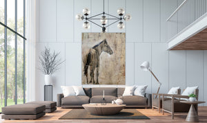 Solemn and stoic, the wild Kiger horse painted in subtle neutrals of warm tones of gray, umber, burnt umber and sienna. A showpiece for any wall in your home or office.