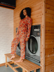 Block printed pyjama sets- peachy poppy