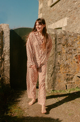 Block printed pyjama sets- Rose