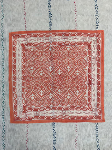 Block printed scarf- sweet orange