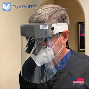 Regular face shields don't work for dentists, so Tripp Enterprises designed a new one.