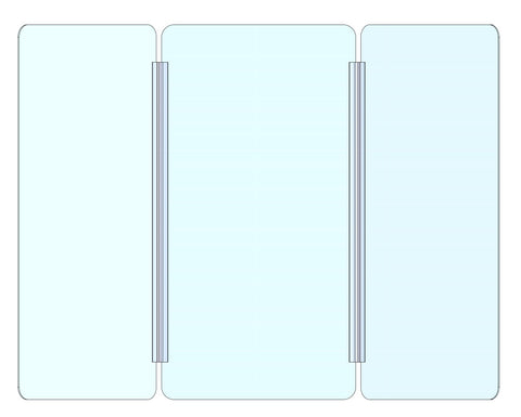 Tri Fold Sneeze Guard 30x(15.5+15.5+15.5) Clear Acrylic Plexiglass Partition for Counters, Barrier Against Coughing & Sneezing