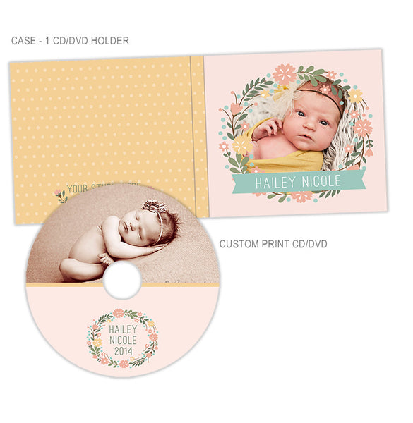 Personalized CD + CD Case | Floral Wreath
