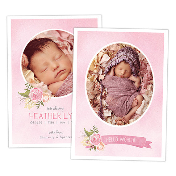 Birth Announcement | Pink Peony