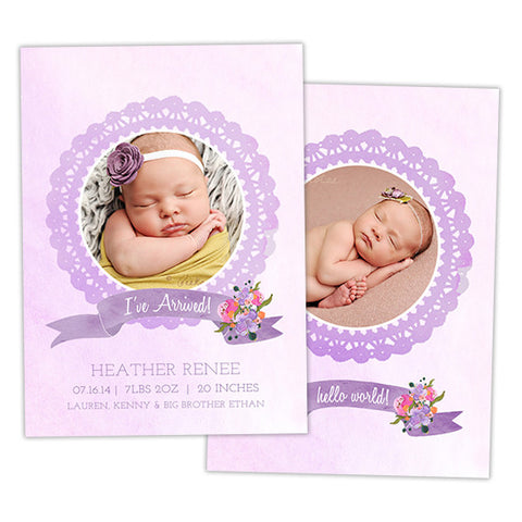 Birth Announcement | Purple Watercolor