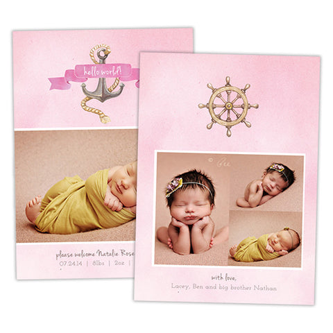 Birth Announcement | Pink Nautical