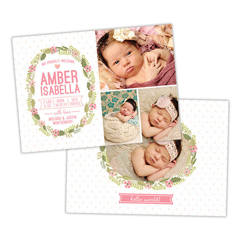 Birth Announcement | Floral Wreath