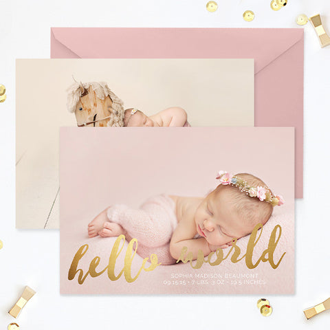 Birth Announcement | Hello World Gold
