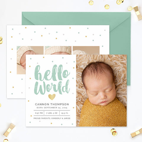 Birth Announcement | Hello World Confetti