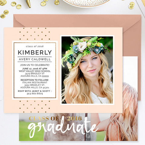 Grad Announcement | Gold Stripes