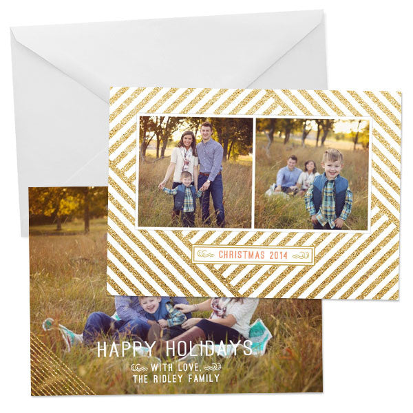 Holiday Photo Card | Glitter Stripes