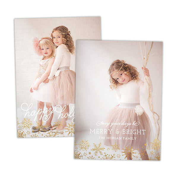 Holiday Photo Card | Gold Snowflakes