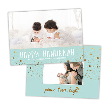 Hanukkah Photo Card | Peace Love Light