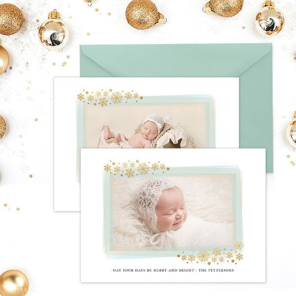 Holiday Photo Card | Glitter Snowflakes