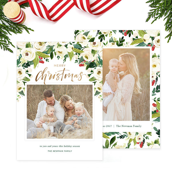 Christmas Card | White Roses