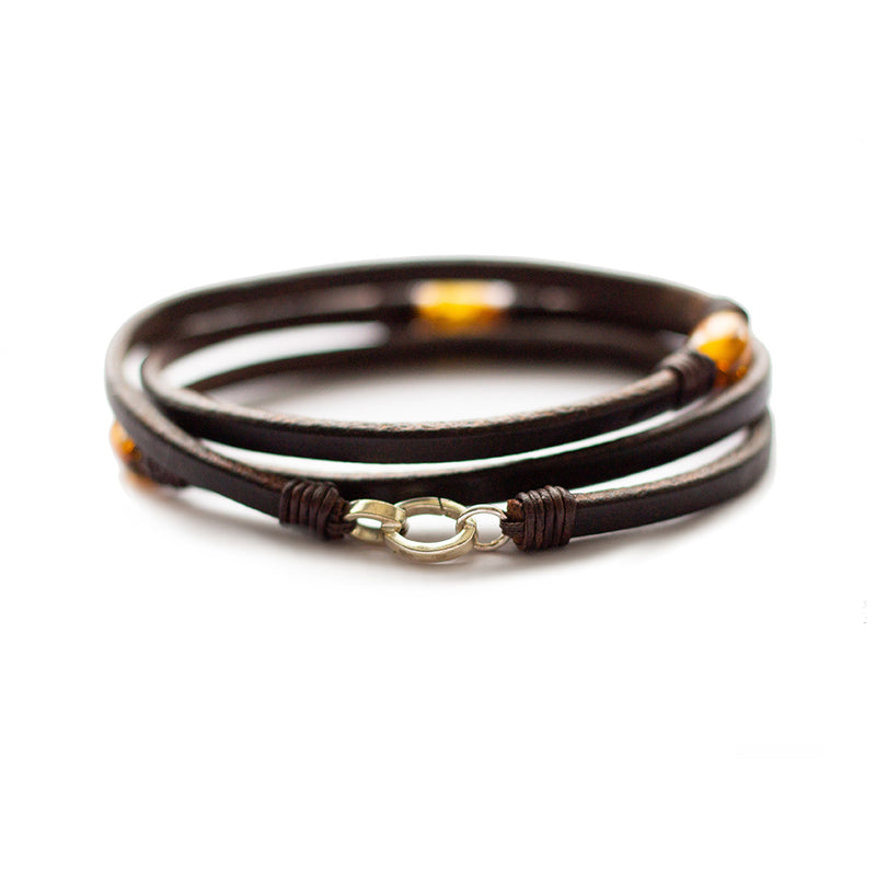 Trinity3 Bracelet Honey Baltic Amber & Dark Havana English Bridle