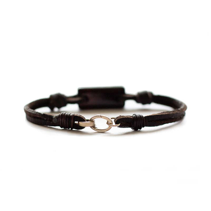 Aeon Bracelet Dark Brown Baltic Amber & Leather