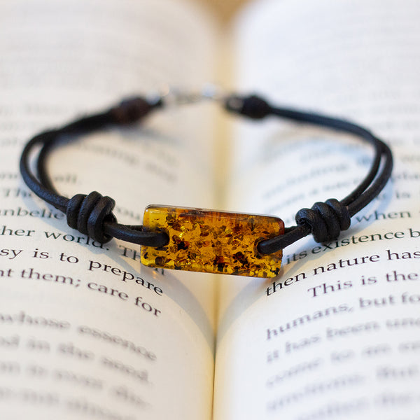 Aeon Bracelet Brown Baltic Amber & Leather