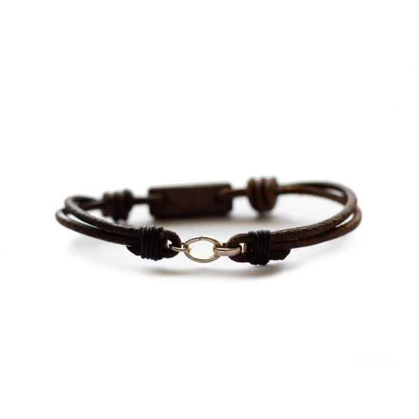 Aeon Bracelet Dinosaur Gembone & Dark Havana English Bridle Leather