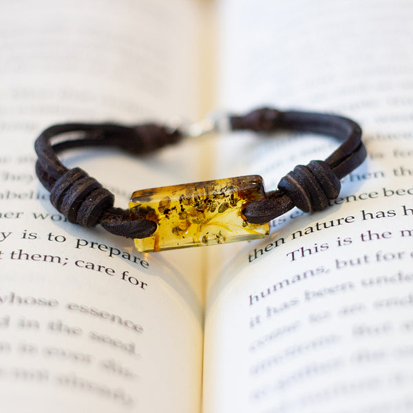 Aeon Bracelet Honey Baltic Amber & Leather