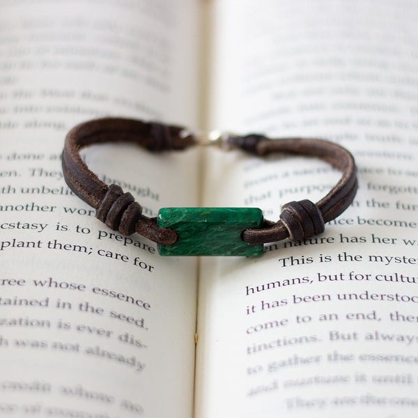 Aeon Bracelet South African Jade & American Bison Leather