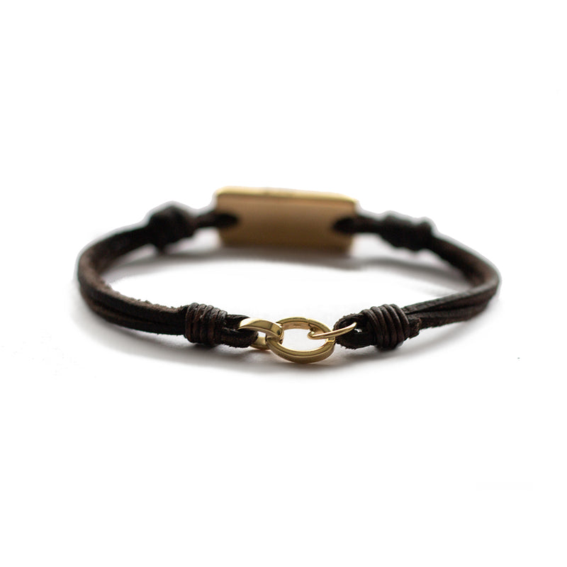 Aeon Bracelet 14k Yellow Gold Ingot & African Kudu Leather