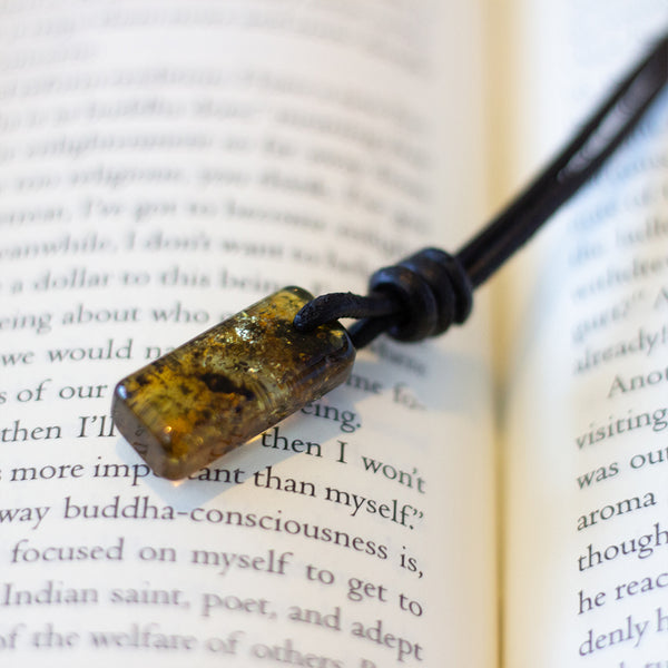 Amulet Necklace - Green Baltic Amber & Leather