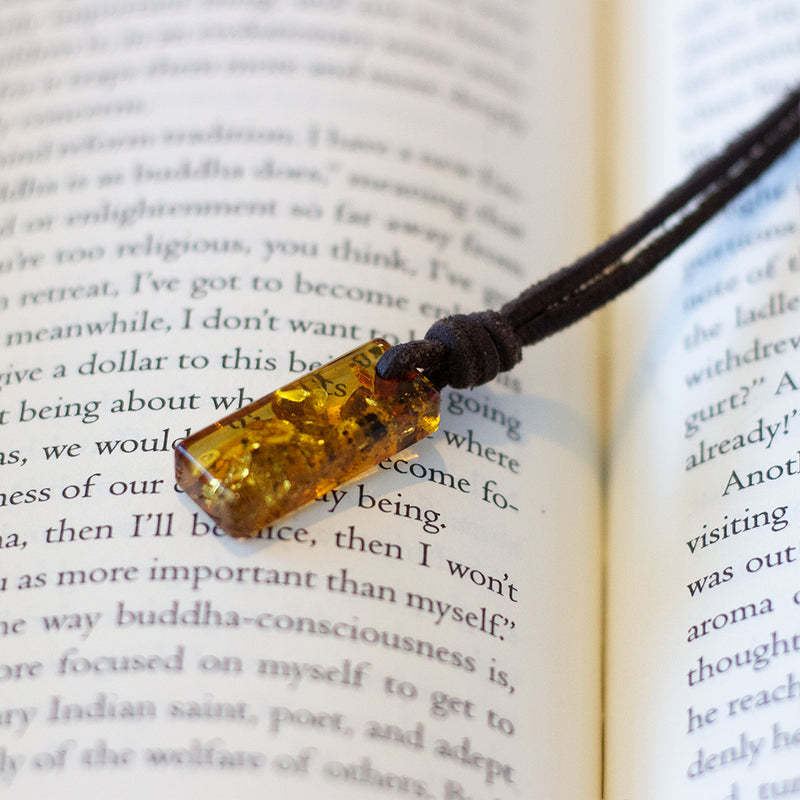 Amulet Necklace - Honey Baltic Amber & Leather