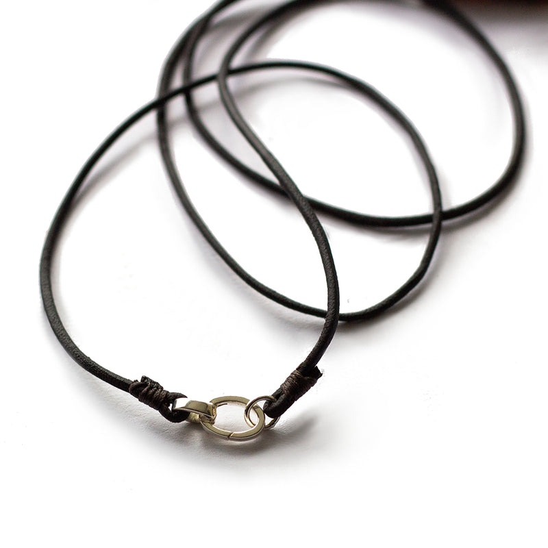Amulet Necklace - Black Baltic Amber & Leather