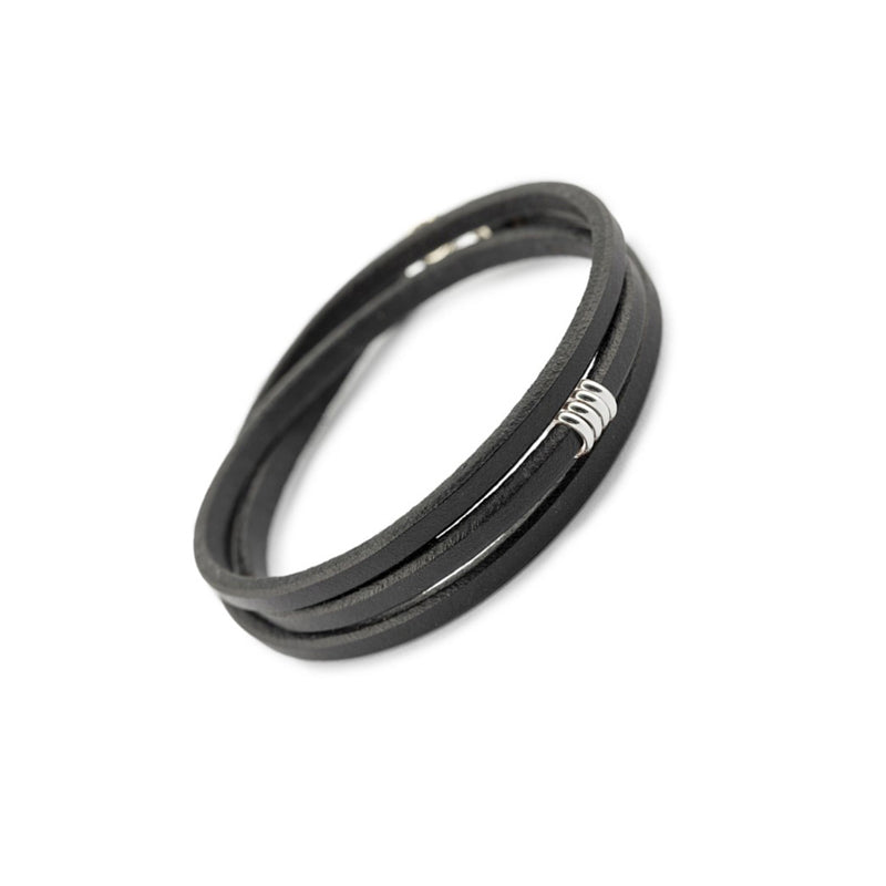 Trinity_ALS - Recycled Sterling Silver Rings & Black English Bridle