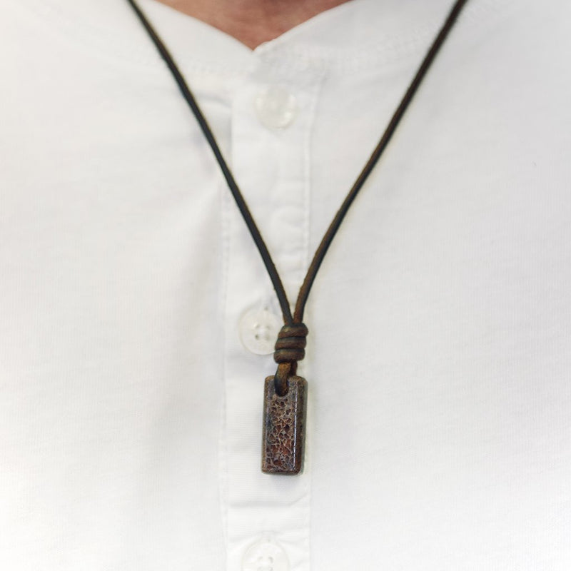 Mens Necklace Amulet Dark Havana Leather With Dino