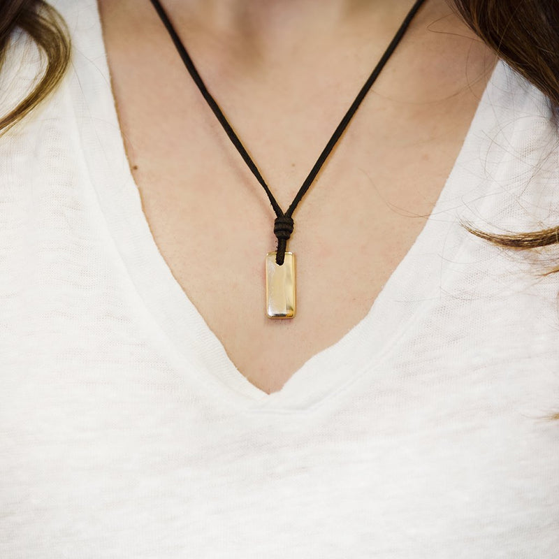 Womens Necklace Amulet Dark Brown Leather With 14k Gold